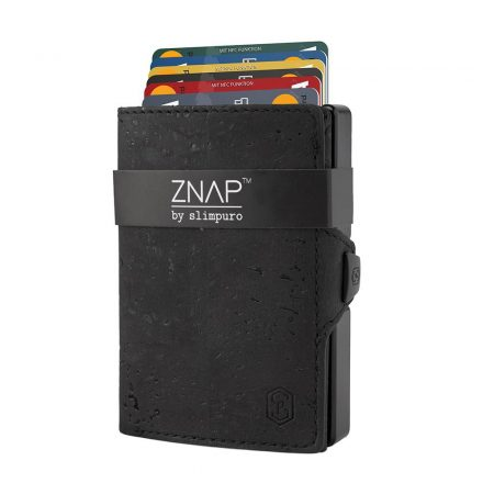 ZNAP Slim Wallet - Cork Leather - fekete